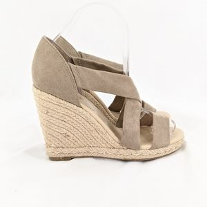 NWOB Indigo Rd Taupe Rope Wedge Sandals